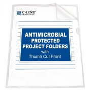 C-Line Project Folder with Antimicrobial Protection, Reduced Glare, Letter Size, Clear, 25 per Box