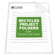 C-Line Recycled Project Folders with Thumb Cut Fronts, Reduced Glare, Letter Size, Clear, 25 per Box