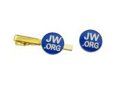 Jw.org Gold Colour Necktie Clip and Lapel Pin Set