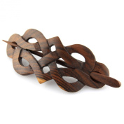 Evolatree - Hand Carved Sono Wood Celtic Princess Crest Hair Pin Barrette - 10cm