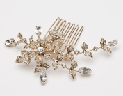 USABride Small Wedding Side Comb with Rhinestone Flowers, Gold-Plated Floral Bridal Headpiece 119-G