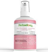 Retseliney Retinol Serum 2.5% for Face & Neck, Reduce Wrinkles, Fine Lines, Dark Spots & Pigmentation + Vegan Hyaluronic Acid & Glycolic, Natural & Organic, Best Anti Ageing Vitamin a Serum for Skin
