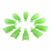 Sannysis 10PC Nail Art Soak Off Cap Clip UV Gel Polish Remover Wrap Tool Plastic Green