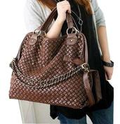 JOVANAS FASHION Women PU Leather Hobo Chain Weaving Woven bag Handbag Double Use Shoulder Bag