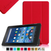 Fintie Fire 7 SmartShell Case - Ultra Slim Lightweight Standing Cover for Amazon Fire 7 Tablet (will only fit Fire 18cm Display 5th Generation - 2015 release), Red