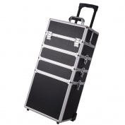 Pro 4in1 Professional Rolling Cosmetic Makeup Train Case With Key Lock Black