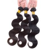 Grade 6A Peruvian Body Wave Hair Unprocessed Hair Weft Natural Black 3 Bundles 41cm 46cm 50cm