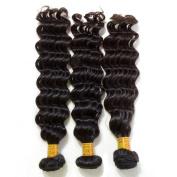 Grade 6A Peruvian Deep Wave Hair Unprocessed Hair Weft Natural Black 3 Bundles 30cm 30cm 30cm