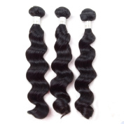 Grade 6A Unprocessed Malaysian Remy Human Hair Weave Weft Loose Wave Hair Extension Natural Black 3 Bundles 46cm 46cm 46cm