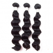 Grade 6A Unprocessed Malaysian Remy Human Hair Weave Weft Loose Wave Hair Extension Natural Black 3 Bundles 46cm 46cm 46cm