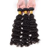 Grade 6A Peruvian Deep Wave Hair Unprocessed Hair Weft Natural Black 3 Bundles 36cm 41cm 46cm