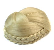 Blonde Lattice Effect Clip In Hair Bun | Clip on Glamorous Hairpiece in Bleach Blonde
