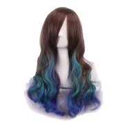 Rise World Wig Fashion 65cm Lolita Long Mixed Colour Curly Heat Friendly Anime Cosplay Party Wig