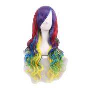 Rise World Wig Fashion 70cm Lolita Long Black Curly Bangs Heat Friendly Anime Cosplay Party Wig