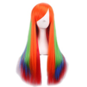 Rise World Wig Fashion 75cm Long Colourful Straight Bangs Heat Friendly Anime Cosplay Party Wig