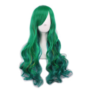 Rise World Wig New Fashion 68cm Green Wigs Two Tone Long Curly Full Hair Wig Cosplay Party