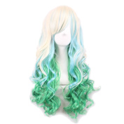 Rise World Wig Women's Two Tone Gradient Blonde Green Long Curly Wigs Cosplay Full Hair Wig