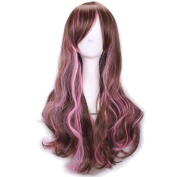 Rise World Wig Fashion Lolita Two Tone Gradient Brown Pink Long Curly Cosplay Full Hair Wig