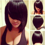 Marian® Fashion Hairstyles Sythetic Short Straight Bob Wig Jet Black 1b for Women with Side Bangs + a Free Wig Cap W8046