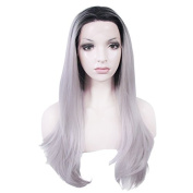 Lace Wig Long 60cm Straight Synthetic Lace Front Wig High Density Ombre Grey