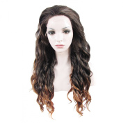 Lace Wig Long 60cm Wave Synthetic Lace Front Wig High Density Ombre Dark Auburn