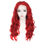 Lace Wig Long 60cm Wave Synthetic Lace Front Wig High Density Fiery Red