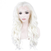 Lace Wig Long 60cm Wave Synthetic Lace Front Wig Heat Resistant White