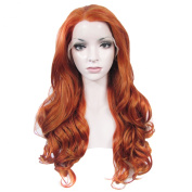 Lace Wig Long 60cm Wave Synthetic Lace Front Wig High Density Charming Dark Red