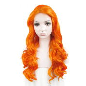 Lace Wig Long 60cm Wave Synthetic Lace Front Wig High Density Orange