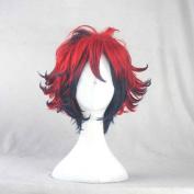 Bakumatsu Rock Ryoma Sakamoto Red Mix Blue Short Cosplay Costume Wig + Free Wig Cap
