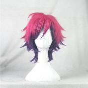 No Game No Life Sora Rose Purple Gradient Short Cosplay Costume Wig + Free Wig Cap
