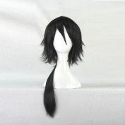 Adekan Yoshiwara Shiro 60CM Long Black Cosplay Costume Wig + Free Wig Cap