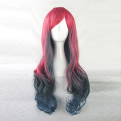Harajuku Zipper Lolita Red Gradient Dark Blue Curly Cosplay Party Hair Wig + Free Wig Cap