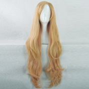 AKB0048 Itano Tomomi Golden Gradient Pink 100CM Long Curly Cosplay Wig + Free Wig Cap