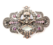 Faship Pirate Crossbones Barrette Purple Rhinestone Crystal Halloween