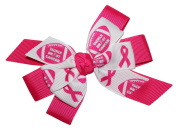 WD2U Deluxe Tackle Breast Cancer Pink October Football Hair Bow French Clip