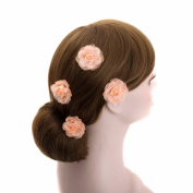 Pink Wedding Flower Silver U Pin Hair Accessory,bridal Bridesmaid Flower Hair Clips