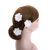 White Wedding 3 Pcs Flower Silver U Pin Hair Accessories,bridal Bridesmaid Floral Hair Clips Hair Pins