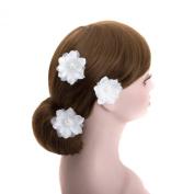 White Wedding 3 Pcs Flower Silver U Pin Hair Accessories,bridal Bridesmaid Floral Hair Clips Hair Pins