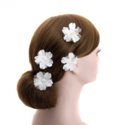 White Wedding Flower U Pin Hair Accessory,bridal Bridesmaid Flower Hair Clips (B Set