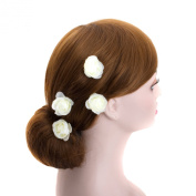 Small Ivory Rose Blossom Wedding Flower Hair Clips, Bridal Organza Flower Silver U Pins (B set