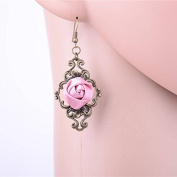 Lvxuan Gothic Retro Handmade Pink Ribbon Rose Palace Dangle Earrings with Alloy Hook Womens Gothic Court Drop Earrings