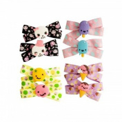18 Pcs 6.4cm Grosgrain Ribbon Hair Bows Girls Kids Children Ouch Free Barrettes Snap Clips - 9 Pairs Assorted Styles