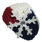 Rhinestone Snowflake Red/Beige/Navy Wide Knit Headwrap Headband