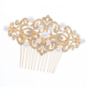 Pearl Hair Comb Rhinestone Hairpins for Bridal or Women Wedding Hair Accessories Jewellery with Austrian Crystals 1456R1