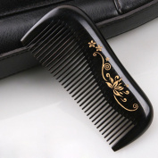 Welltop® Natural Ebony Wood Black Sandalwood Wooden Comb Fine Tooth Comb Massage Comb with Golden Painted Flower 1.5mm