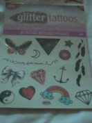 Savvi Glitter Tattoos - 29 Tattoos - Butterfly, Star, Feathers, Heart, Rainbow, Lightning Bolt and More