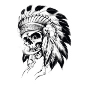 Yeeech Temporary Tattoo Sticker Skull Tribel Series Old Traditional Design