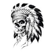 Yeeech Temporary Tattoo Sticker Skull Tribel Series Old Traditional Design