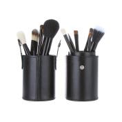 Supermodels Secrets 12 Pcs Makeup Brushes Pu Vegan Leather Tube Canister Cylinder Case Holder